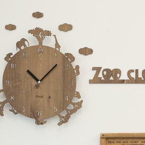 【壁掛け時計 ウォールクロック】 ZOO CLOCK ブラウン 木製 かべかけ時計
