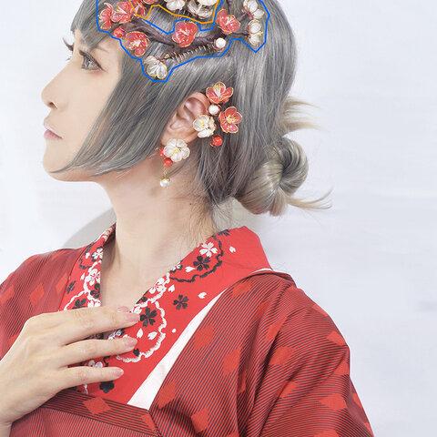 アメリカンフラワー 髪飾り 梅 コーム