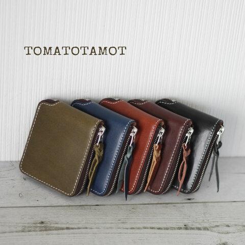 本革 ラウンドファスナー ハーフ 2つ折り財布 コンパクト財布 サブ財布 メンズにも W-269