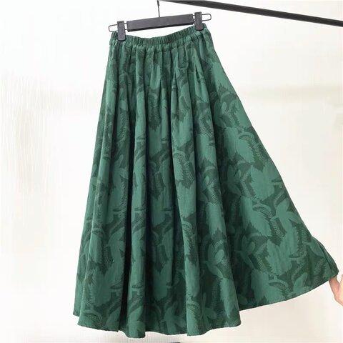 秋冬 コーデュロイのギャザースカート 花柄