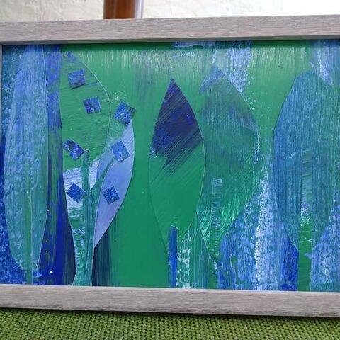 碧と碧の霞の森(アクリル画による貼り絵・190mm×139mm・フレーム入り)