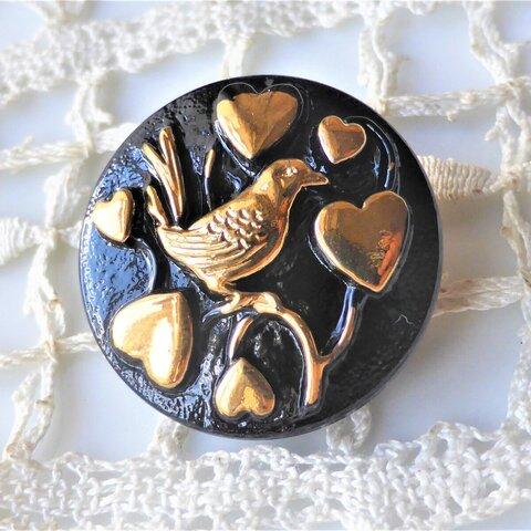 金の鳥 チェコガラスボタン1個