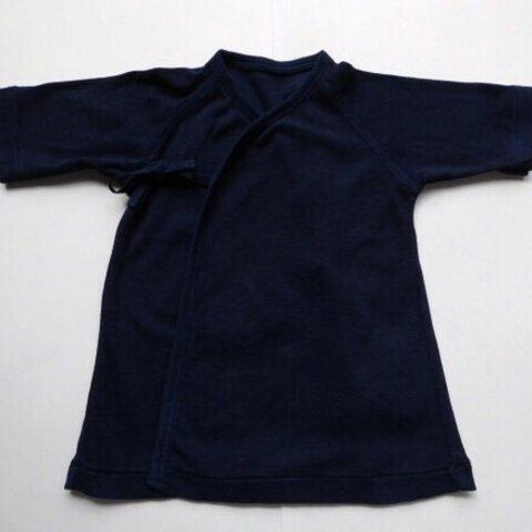 新生児用・オーガニックコットン・ベビー短肌着・藍染め(50サイズ・3~4kg)