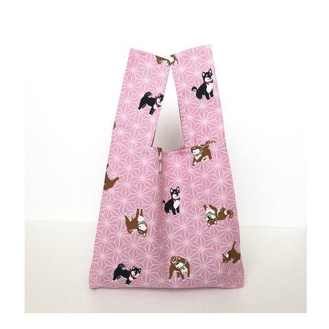 柴犬 麻の葉文様(ピンク)レジ袋型 小さめ エコバッグ お散歩バッグ 黒柴