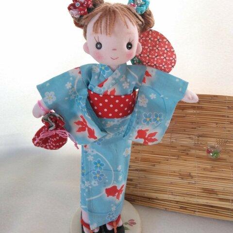 【送料込み】着せ替え服 浴衣セット(青・金魚) パセリちゃん用 手作り人形 布人形 ハンドメイドドール