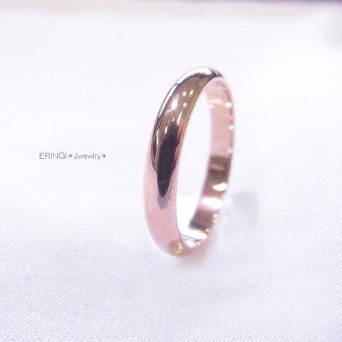 ☆ 桜カラーピンクゴールドで可愛いミラーリング ☆ 期間限定ミニ巾着付き ☆刻印 ステンレス シングルリング 【リング1本価格です】