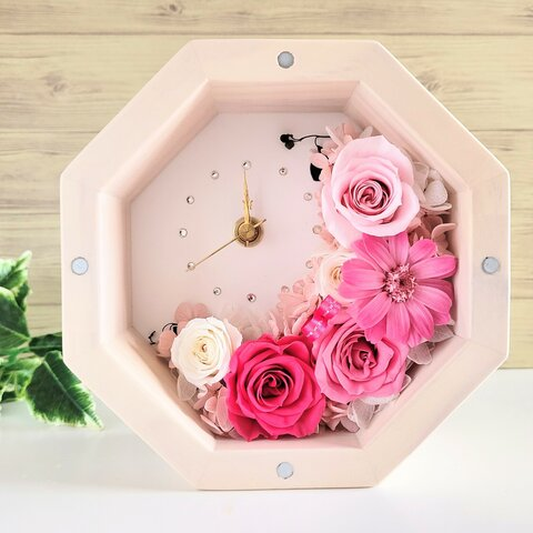 【Épanoui-エパヌイ-】ピンク プリザーブドフラワー八角形花時計S 置時計 壁掛け時計