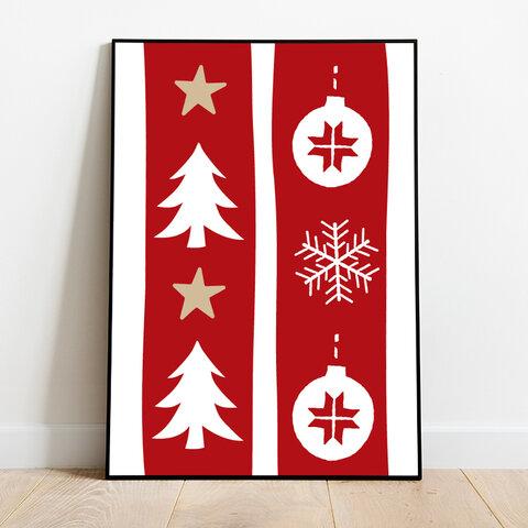 インテリアポスター シンプル クリスマスパターン * 季節 アート ポスター A4 X'mas 北欧 北欧風 北欧インテリア クリスマス 雑貨 かわいい シンプル ナチュラル