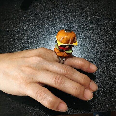 革ハンバーガーリング(指輪)