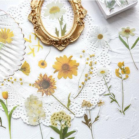 可愛いお花のpetフレークシール 黄