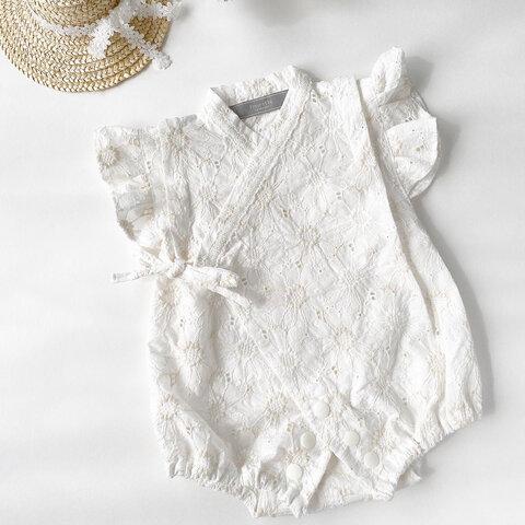 《60-70 》刺繍生地ベビーフリル甚平ロンパース(ミルキーホワイト)  夏祭り 浴衣 ベビー甚平