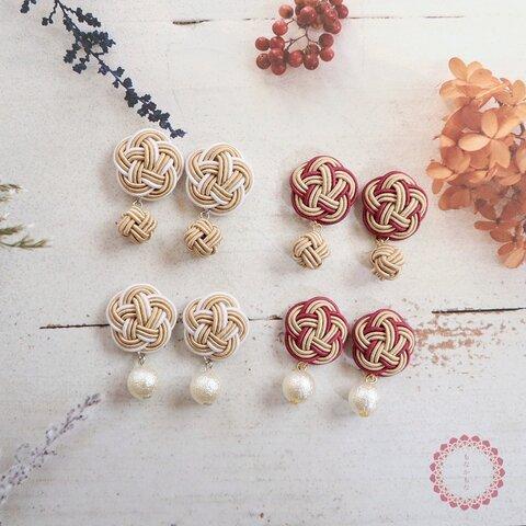 和風 ベージュ 優しいお色の水引のお花のピアス イヤリング 樹脂イヤリング 樹脂ピアス 和