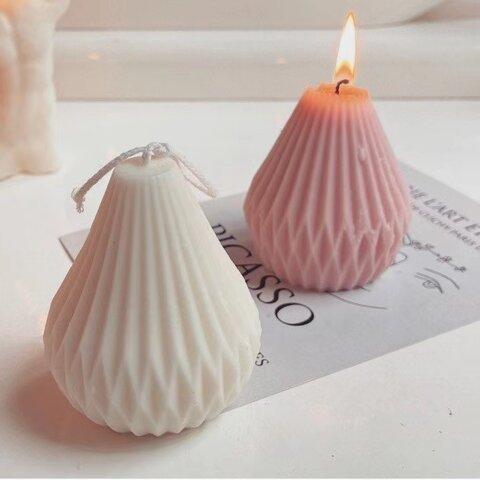 1p Nart Candle 幾何風線形梨形のモールド シリコンモールド キャンドルモールド 線形 梨形