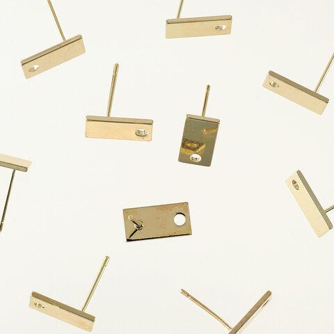 送料無料 ピアスパーツ ゴールド 14Kメッキ 小さめ長方形 12x6 10個 シンプル ピアス金具 スクエア アクセサリーパーツ ハンドメイドパーツ  AP1608