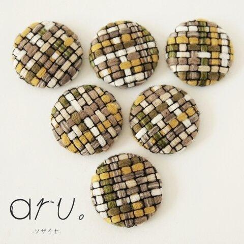 [S1811-3y] 【6個】 毛糸のカボション イエローmix 黄色 デコパーツ 半円ボタン