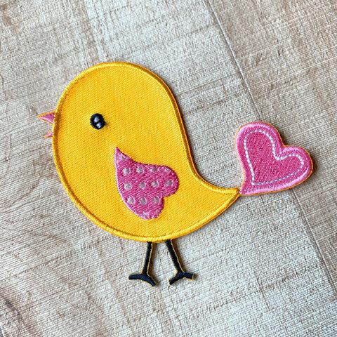 【大きい】黄色い鳥さん アップリケ (PM-Bird)