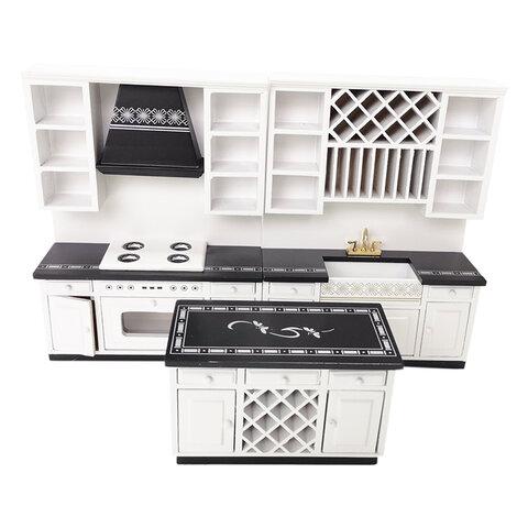 1/12 ドールハウス用 ミニチュアキッチン 調理場流し台物置台セット
