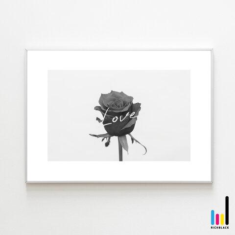 バラ LOVE モノトーン アート ポスター A3 ローズ 薔薇 タイポグラフィー 文字 写真 北欧 北欧風 北欧インテリア 雑貨 ドライフラワー プリザ シンプル ナチュラル インテリア