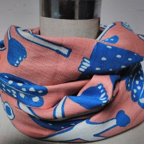ピンクオレンジコットン2重巻きスヌード花柄ボタニカル青果物柄秋用ネックウォーマー可愛い