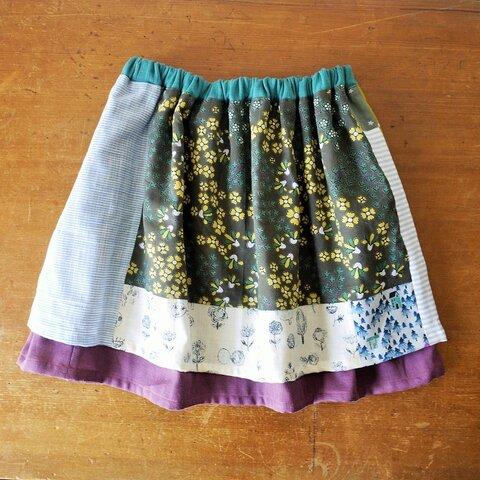 おんなのこスカート しましまきいろいお花畑 120