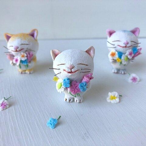 春の花束猫さんカレンダーセット 白