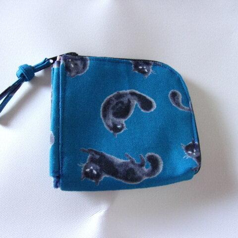 黒猫柄のL字ファスナー財布(ブルー)