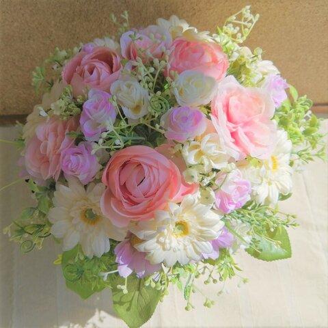 ◆どこから見てもきれい・お花いっぱい・感謝を込めてガーベラのアレンジメント◆母の日◆造花・壁掛けリース◆花倶楽部