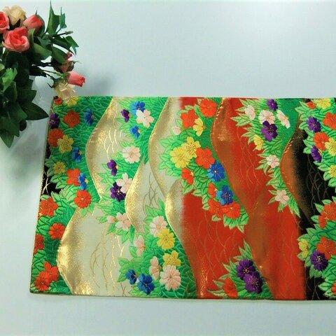 【⑯0727】47.5cm/帯リメイク品/遠山草花文・美品/テーブルマット花瓶敷等