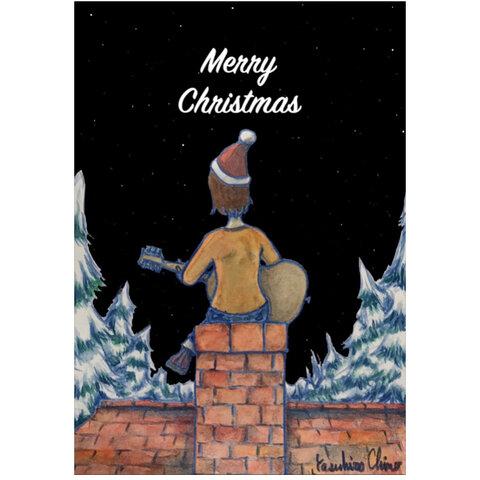 ポストカード『煙突屋根からメリークリスマス』クリスマスカード、メッセージカードに☆2枚セット