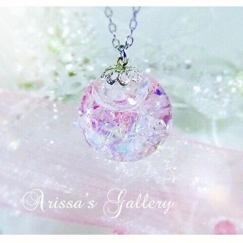春の夢♡桜の雫ネックレス♡*スワロフスキー*スノードーム*ガラスドーム*