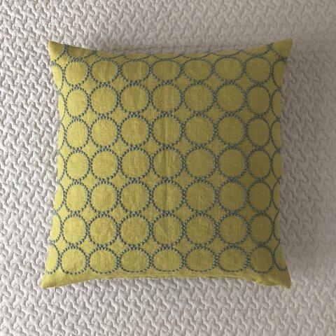 ミナペルホネン タンバリン イエロー yellow + green クッションカバー