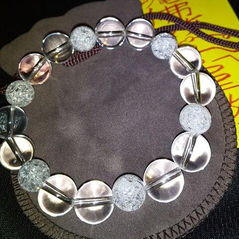 運気改善🔯祈祷入れ ヒマラヤ天然水晶 身守り念珠ブレスレット
