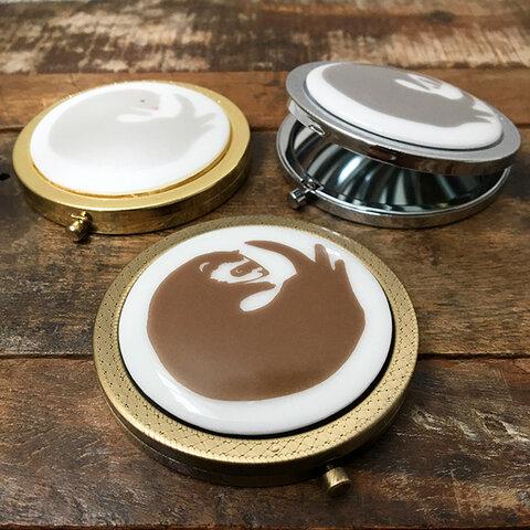 【在庫限り】フェレット コンパクトミラー 3色 ★ セーブル ホワイトファー シルバー 手鏡 7cm 贈り物 プレゼントに
