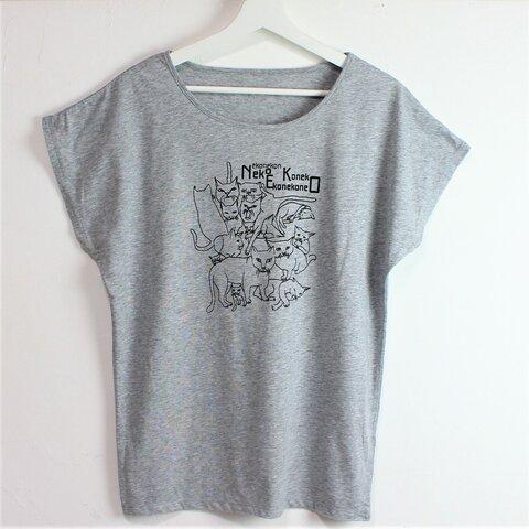 セール【M】猫いっぱい ドルマンTシャツ レディース