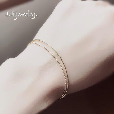 ꫛꫀꪝ   2連 チェーン × バングル ブレスレット 上品 シンプル ゴールドカラー