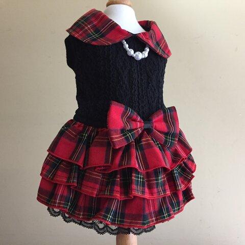 黒のアラン編み風ニット*赤チェック柄フリフリスカートのワンピ