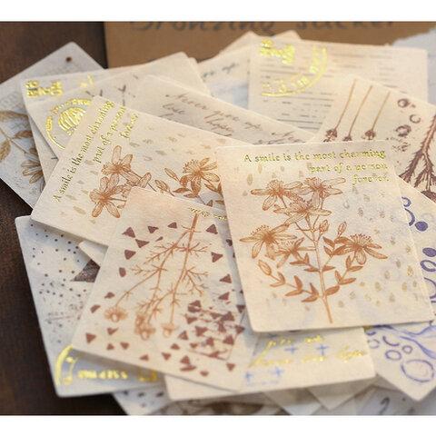 ヴィンテージ 植物 花 和紙のフレークシール 40枚