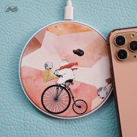 Qiワイヤレス充電器- ホッキョクグマとペンギンの自転車旅行