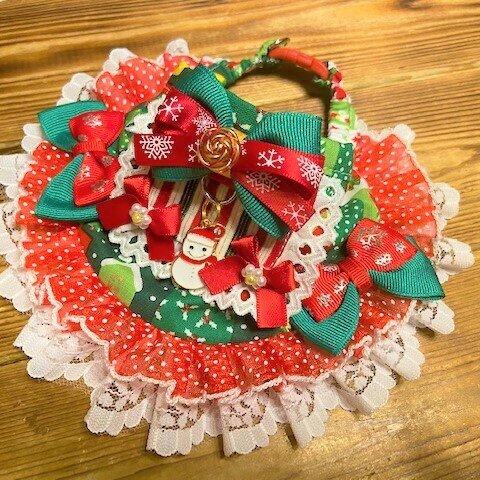 犬・猫の首輪 27~30 cocochanバンダナチョーカー グリーン×赤・クリスマスパッチ柄・姫