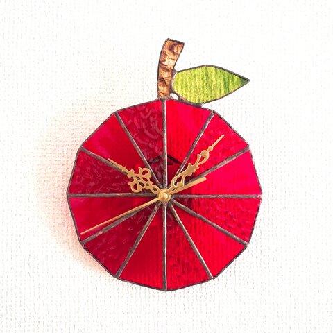 ステンドグラスのアンティーク調壁掛け時計 りんごの果汁
