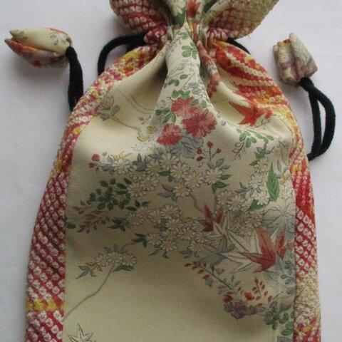 5873 絞りと花柄の着物で作った巾着袋 #送料無料