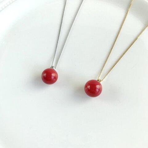 真っ赤なサンゴのシンプルネックレス