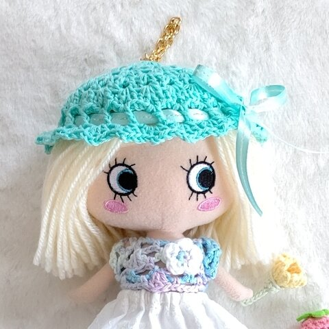 イーマリーちゃん用♡かぎ針編み帽子(ミントグリーン)