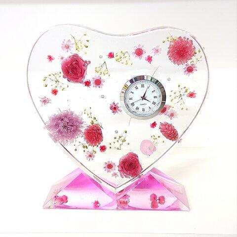 送料無料●固まるハーバリウム置時計【L】写真立て*ピンク⚫透明感抜群!お花がいっぱい●2液性レジン特殊技術ハート型オブジェ