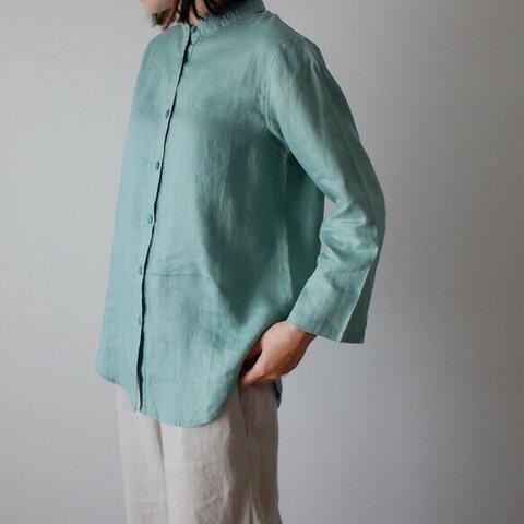 シンプル リネン 九分袖 ブラウス 大人かわいい 秋 ナチュラル 麻 体型カバー 袖あり T143-F-GRE