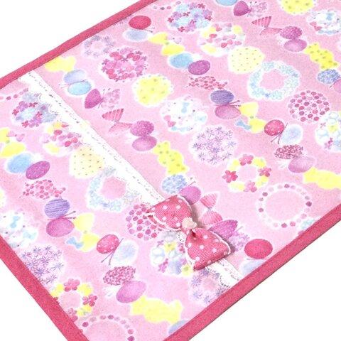 L ピンク ちょう&お花 リボン付 ランドセルカバー ラミネート 女の子