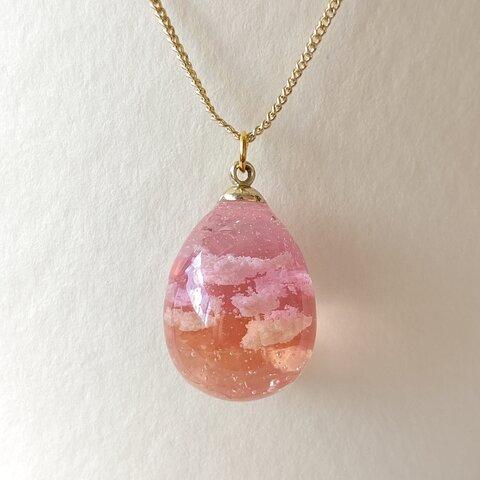 カラフルな空卵~ピンクとオレンジの空と雲~ネックレス