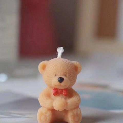 1p Nart Candle 可愛い蝶結びクマさんのモールド シリコンモールド キャンドルモールド くま