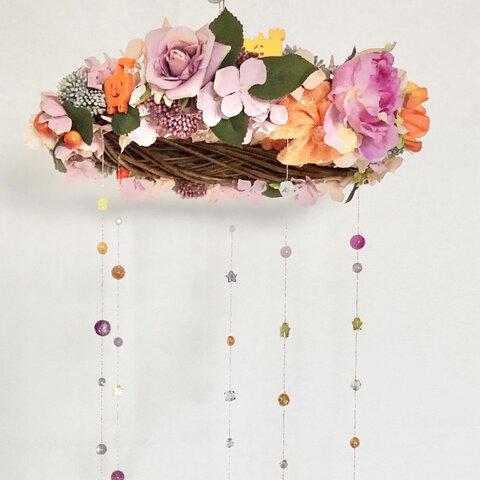 秋の花とパンプキンゴーストたちの花かんむり【ブリーズキャッチャー】ハロウィンの吊り下げインテリア雑貨