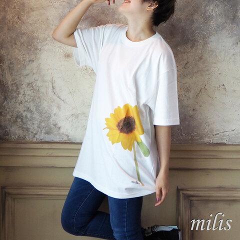 向日葵のオーバーサイズTシャツ:XL
